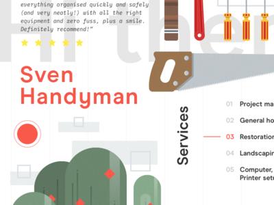 Sven Handyman elements illustration minimal lines grid landing graphic ui ux development design