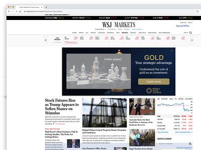 World Gold Council / Relevance Digital wsj news layout skins iab html5 gsap greensock google studio design coding brand banners ads