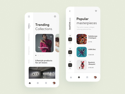 Saatchi store Mobile App modern store concept inspiration interaction design interaction ios flat minimal grid clean design interface ux ui app