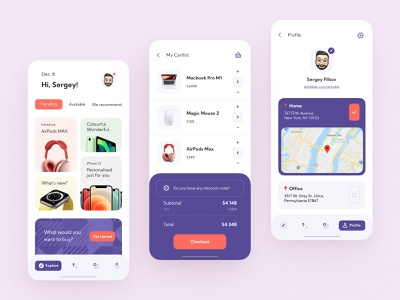 E-commerce Mobile App checkout freelance mobile app e-commerce shop hug guidlines ios14 ipad air aipods max apple watch apple e-commerce ios interaction clean app design interface ux ui