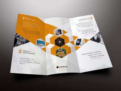 SMediaLink Tri-fold Brochure design trifold brochure leaflet editorial clean logo mockup typography fold minimal