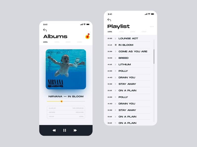 Mobile Music App player dashboard typography branding simple minimal ios grid clean interaction design app interface ux ui