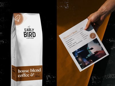 Early Bird House Blend Package & Menu earlybird house blend coffee white coffee bag menudesign menu card packagedesign