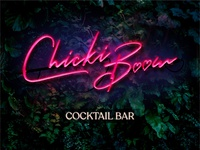 Chicki Boom Cocktail Bar Logo Neon