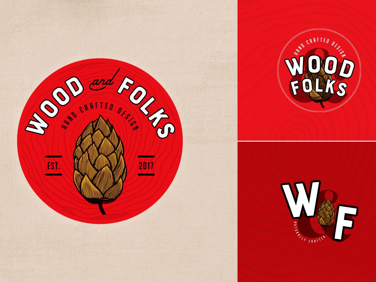 Wood&Folks Logo Design custom furniture design hand crafted furniture hand crafted