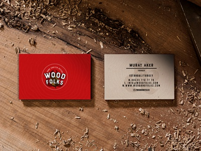 Wood&Folks Business Card custom design handmade furniture business card design woodfolks