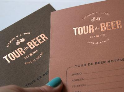 Tour de Beer hot foil logos