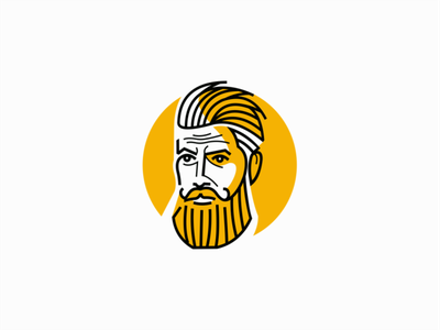 Bearded Man masculine barbershop barber people man beard design branding portrait vector geometric mark identity logo