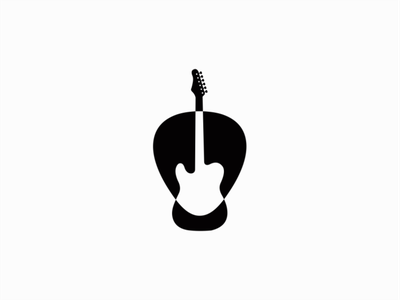 Guitar & Pick negative space pick guitar music design branding mark identity logo