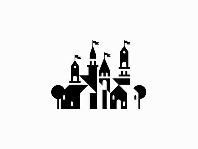Castle illustration sale symbol geometric branding design vector mark identity logo palace castle