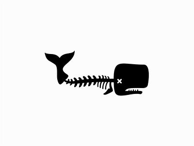 Dead Whale urban bones animal sale branding design vector animals mark identity logo marine whales dead sperm whale whale