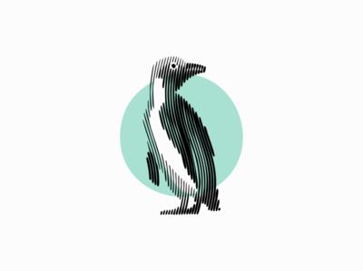 Penguin scratchboard line art lines line bird arctic penguin animal sale symbol geometric branding design vector animals mark identity logo