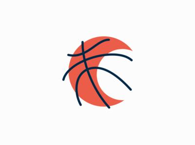 Basketball Moon ball basketball moon sports lines sale symbol geometric branding design vector mark identity logo