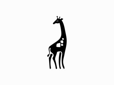 Giraffe monochrome black tall giraffe animal sale symbol branding design vector animals mark identity logo