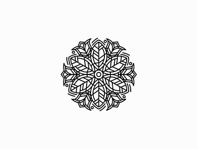Flower Mandala leaves leaf mandala flowers flower lines symbol geometric branding design vector mark identity logo