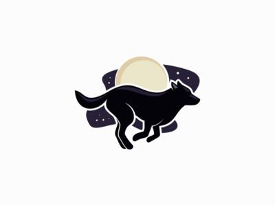 Wolf and Moon wild night moon wolf animal illustration sale symbol branding animals design vector mark identity logo