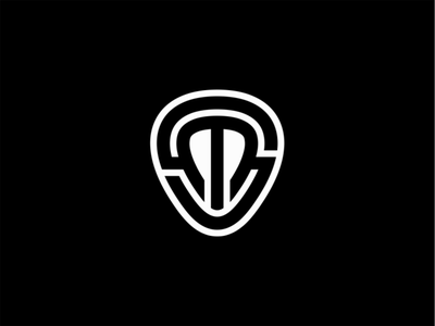 SM Guitar Pick monogram music pick guitar pick guitar lines sale symbol geometric branding design vector mark identity logo