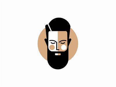Bearded Man barbershop barber bearded beard man illustration sale symbol geometric branding design vector mark identity logo