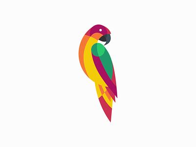 Parrot colorfull colors bird parrot illustration sale geometric symbol animals branding design vector mark identity logo