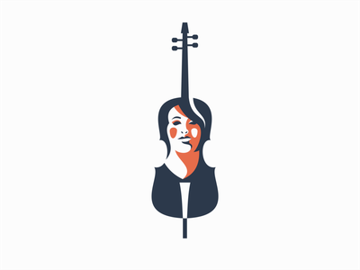 Cello Woman unique professional creative modern premium clean classical music cello woman portrait illustration sale symbol branding design vector mark identity logo