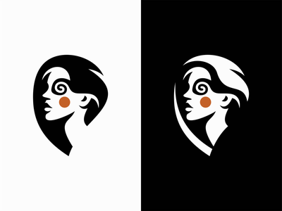Trippy Woman modern clean premium crafting art trippy face girl woman portrait illustration symbol branding design vector mark identity logo