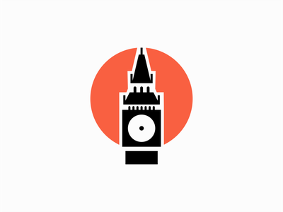 Big Ben vibrant negative space clean professional premium tourism london clock tower big ben illustration sale geometric symbol branding design vector mark identity logo