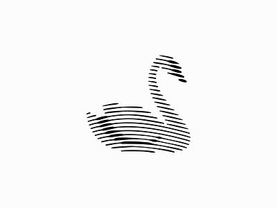 Swan elegance minimalist premium clean scratchboard lineart lines line bird swan sale geometric animals symbol branding design vector mark identity logo