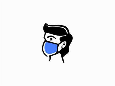 Man with face mask icon emblem graphic man face clean premium pandemic protection mask portrait illustration sale symbol branding design vector mark identity logo