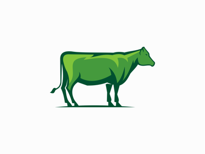 Green Cow premium professional icon graphic emblem farm green dairy cattle cow illustration sale animals symbol branding design vector mark identity logo