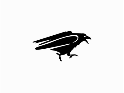 Running Raven graphic emblem icon premium clean horror bird crow raven animal illustration sale animals symbol branding design vector mark identity logo