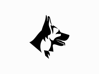 German Shepherd premium icon modern emblem k9 pet german shepherd dog negative space illustration sale geometric animals symbol branding design vector mark identity logo