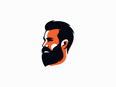 Bearded Man orange clean premium graphic face barber man beard portrait illustration sale symbol branding design vector mark identity logo
