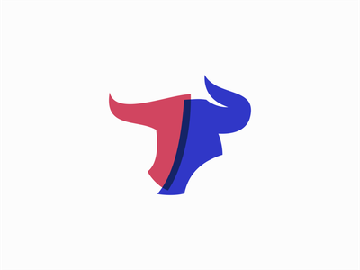 Minimalist Bull Head animal cattle ox horns bull geometric sale animals symbol branding design vector mark identity logo