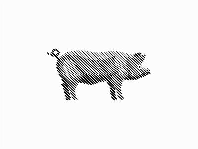 Pig emblem unique modern original farm pork pig scratchboard line art line geometric sale animals symbol branding design vector mark identity logo
