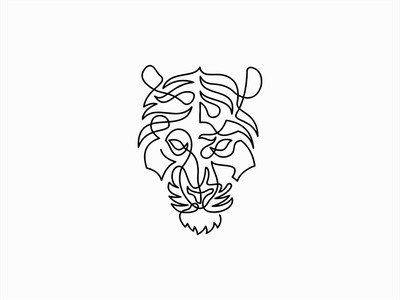One Line Tiger line art unique abstract premium modern original wild animal line tiger geometric animals sale symbol branding design vector mark identity logo