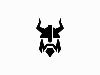 Viking emblem norse modern head man beard armour helmet warrior viking premium illustration geometric symbol branding design vector mark identity logo