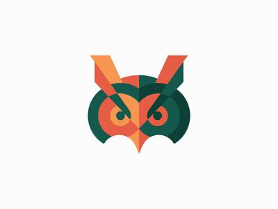 Geometric Owl abstract wisdom unique modern premium optometry education animal bird owl geometric animals sale symbol branding design vector mark identity logo