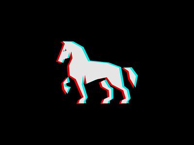 Anaglyph 3D Geometric Horse Logo minimalist icon emblem original illustration animal equine 3d anaglyph horse geometric animals sale symbol branding design vector mark identity logo