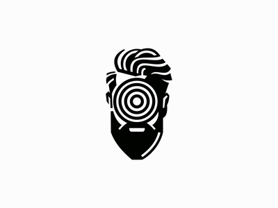 Hypnotized Man Logo barber icon emblem modern negative space portrait face beard hypnotize hypnosis illustration geometric sale symbol branding design vector mark identity logo