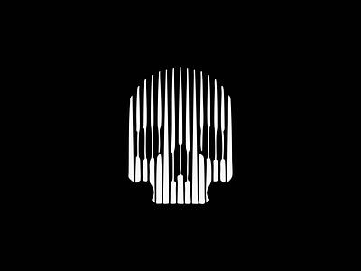 Line Art Skull Logo emblem icon tattoo dark death lines scratchboard bones skeleton skull illustration geometric sale symbol branding design vector mark identity logo