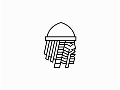Line Art Viking Warrior Logo man bearded beard line art lines line premium norse warrior viking illustration geometric sale symbol branding design vector mark identity logo