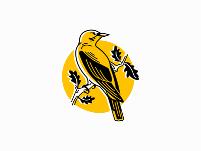 Pirol Bird on an Oak Branch Logo icon animal yellow feathers nature branch tree oak pirol bird illustration animals sale symbol branding design vector mark identity logo