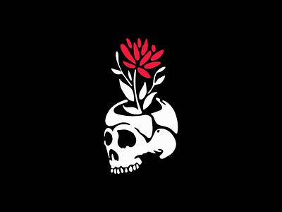 Skull With Flower Logo icon premium modern tattoo horror emblem skeleton branding flower skull illustration symbol design vector mark identity logo