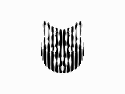 Line Art Cat Logo original abstract modern scratchboard lines line art animal pet kitty feline cat illustration symbol branding design vector mark identity logo