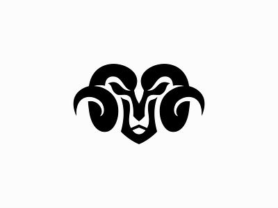 Ram Logo black monochrom abstract unique animal bighorn horns trucking goat sheep emblem ram illustration symbol branding design vector mark identity logo