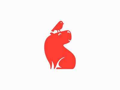 Capybara and Little Bird Logo modern cute cartoon mascot children kids friendship friend animal bird capybara illustration symbol branding design vector mark identity logo