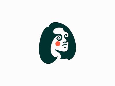 Hypnotized Woman Logo emblem premium beauty magic sale face hypnotize hypnosis portrait modern woman girl illustration symbol branding design vector mark identity logo