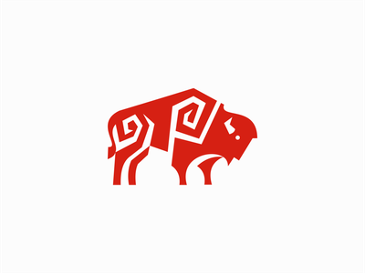 Geometric Bison Logo emblem modern geometric icon strong wild animal ox buffalo bison illustration symbol branding design vector mark identity logo