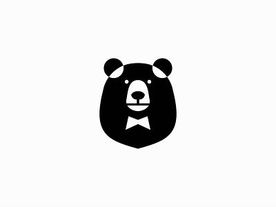 Elegant Bear Logo original emblem icon flat modern mascot cartoon bow tie elegant animal bear illustration symbol branding design vector mark identity logo