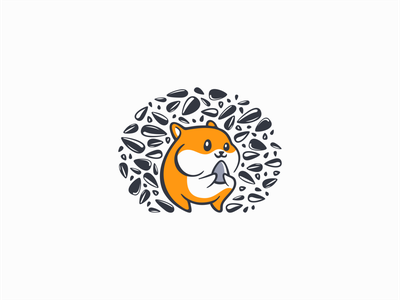 Happy Hamster Logo icon cartoon mascot animal hungry modern premium seeds cute pet hamster illustration symbol branding design vector mark identity logo
